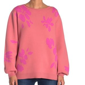 NWT 14th & union floral jacquard knit sweater pink